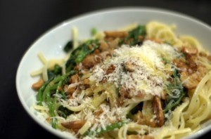 broccoli rabe pasta with crispy chicken