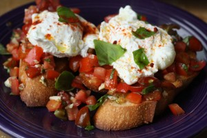eggs bruschetta