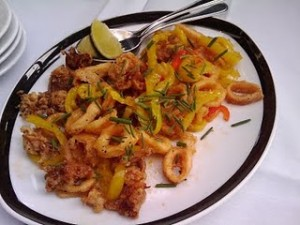calamari with banana peppers