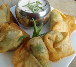fried crab avocado wontons