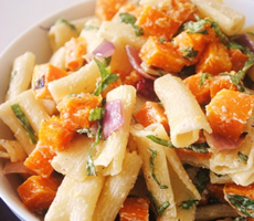 Roasted Butternut Squash and Red Onion Pasta Salad