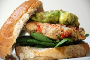 salmon avocado burger